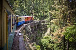 Train moving on railroad track in valley, Shimla, Himachal Pradesh
