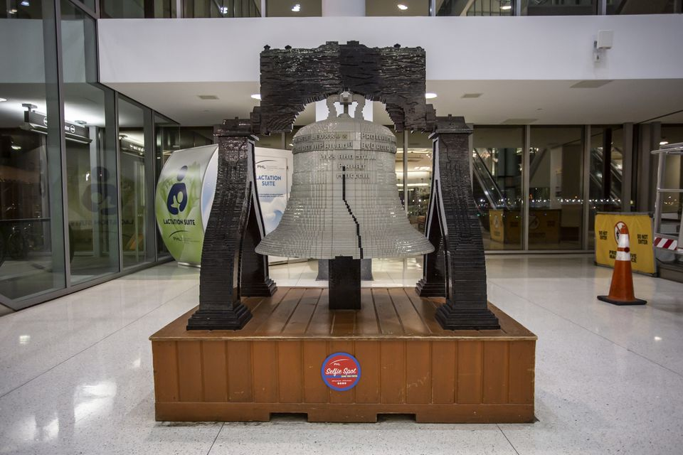 LEGO Liberty Bell replica in Philadelphia International Airport