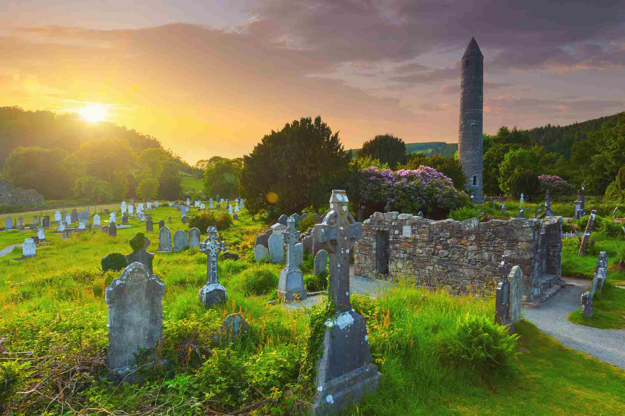 The round tower and the cemetery at the Glendalough monastic site