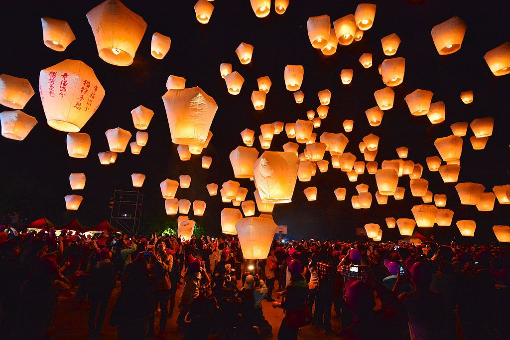 many floating paper laterns at a taiwanese Lantern festival