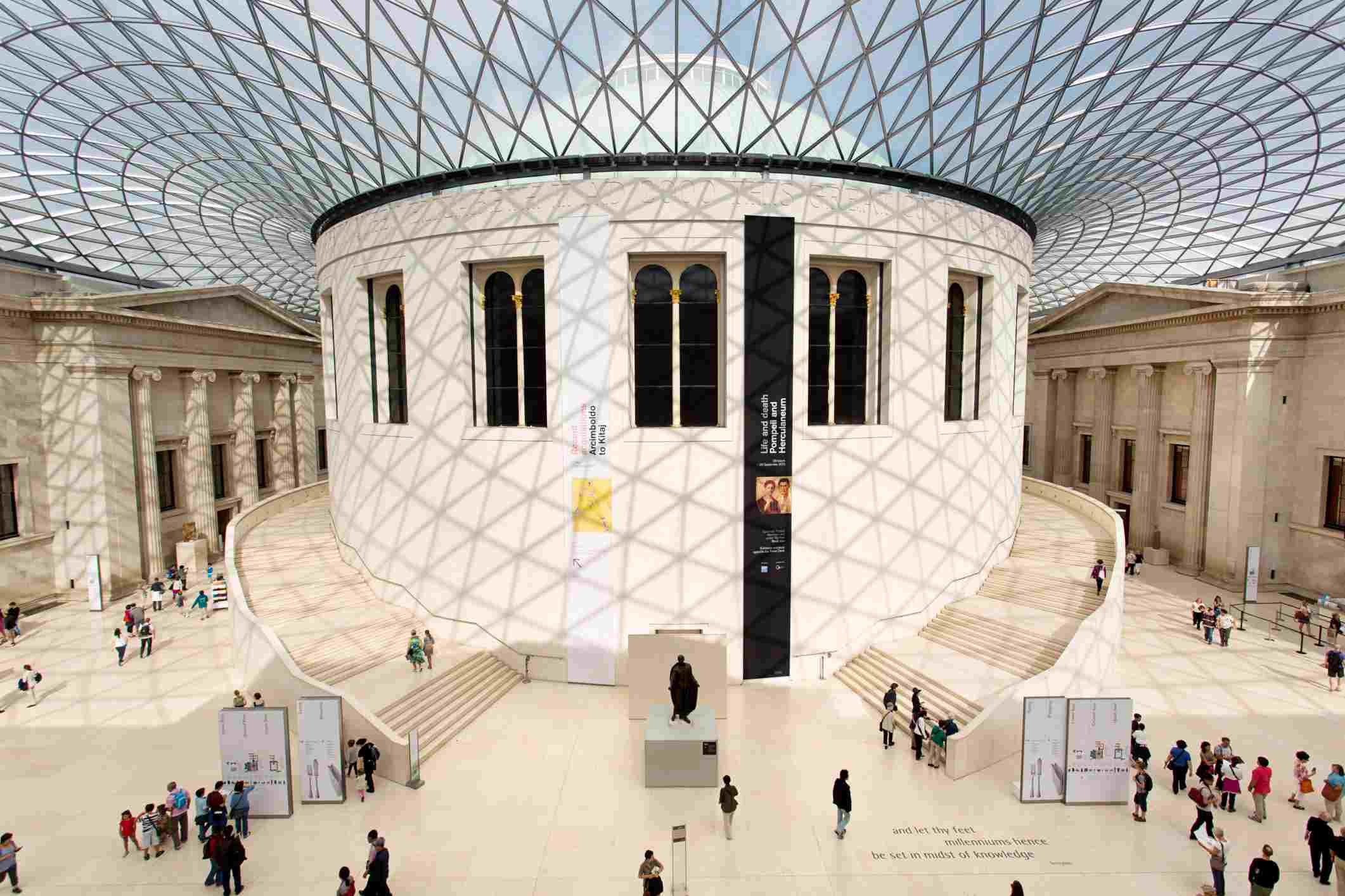 People enjoying the stunning interior of the British Museum