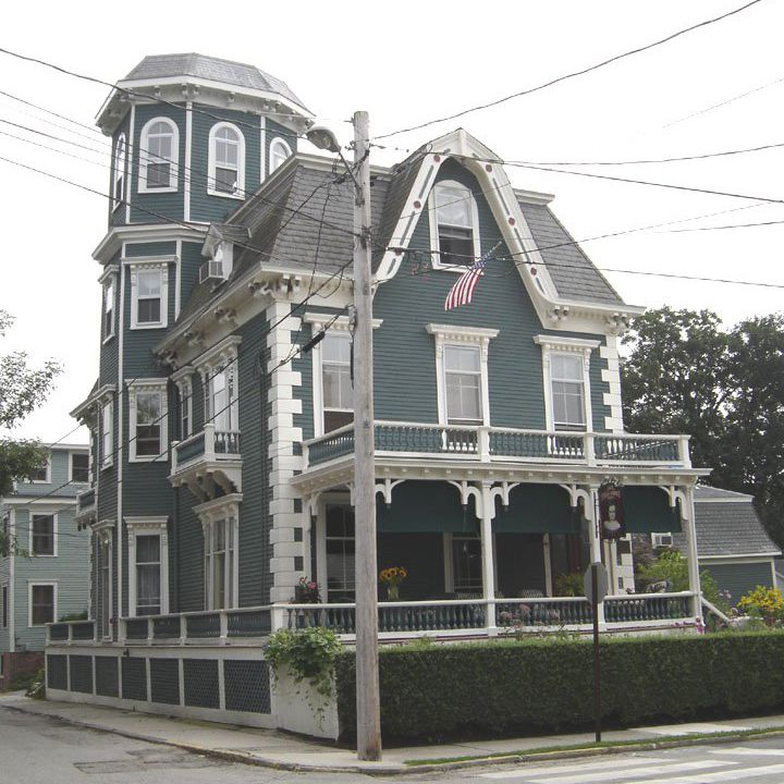 An exterior of a Victorian house