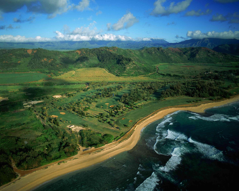 Aerial View of Golf Course at Kauai's Wailua Beach