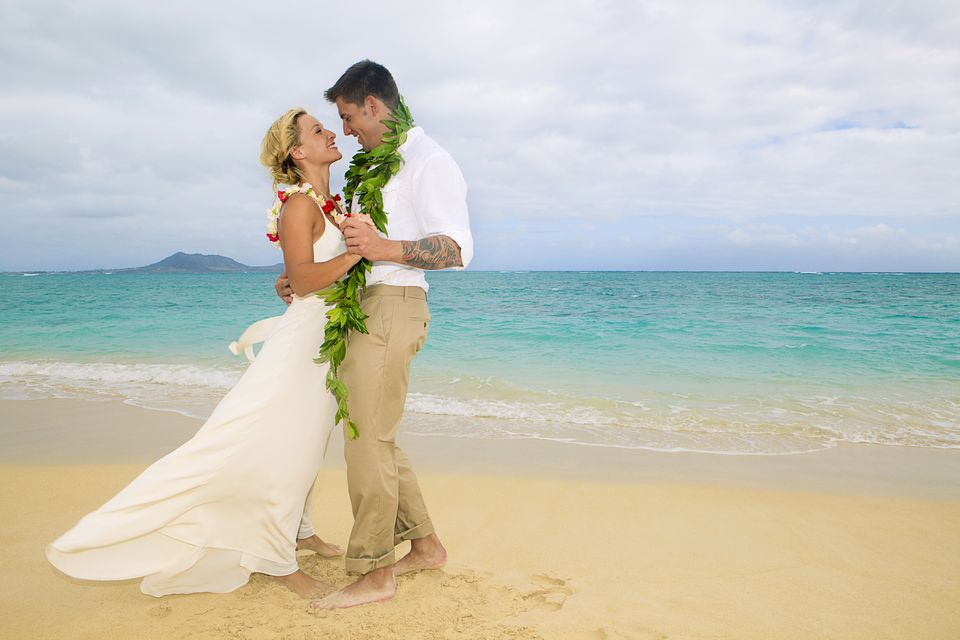 Hawaii, Oahu, Kailua, Lanikai Beach, Attractive Newlywed Couple Dancing On Beach