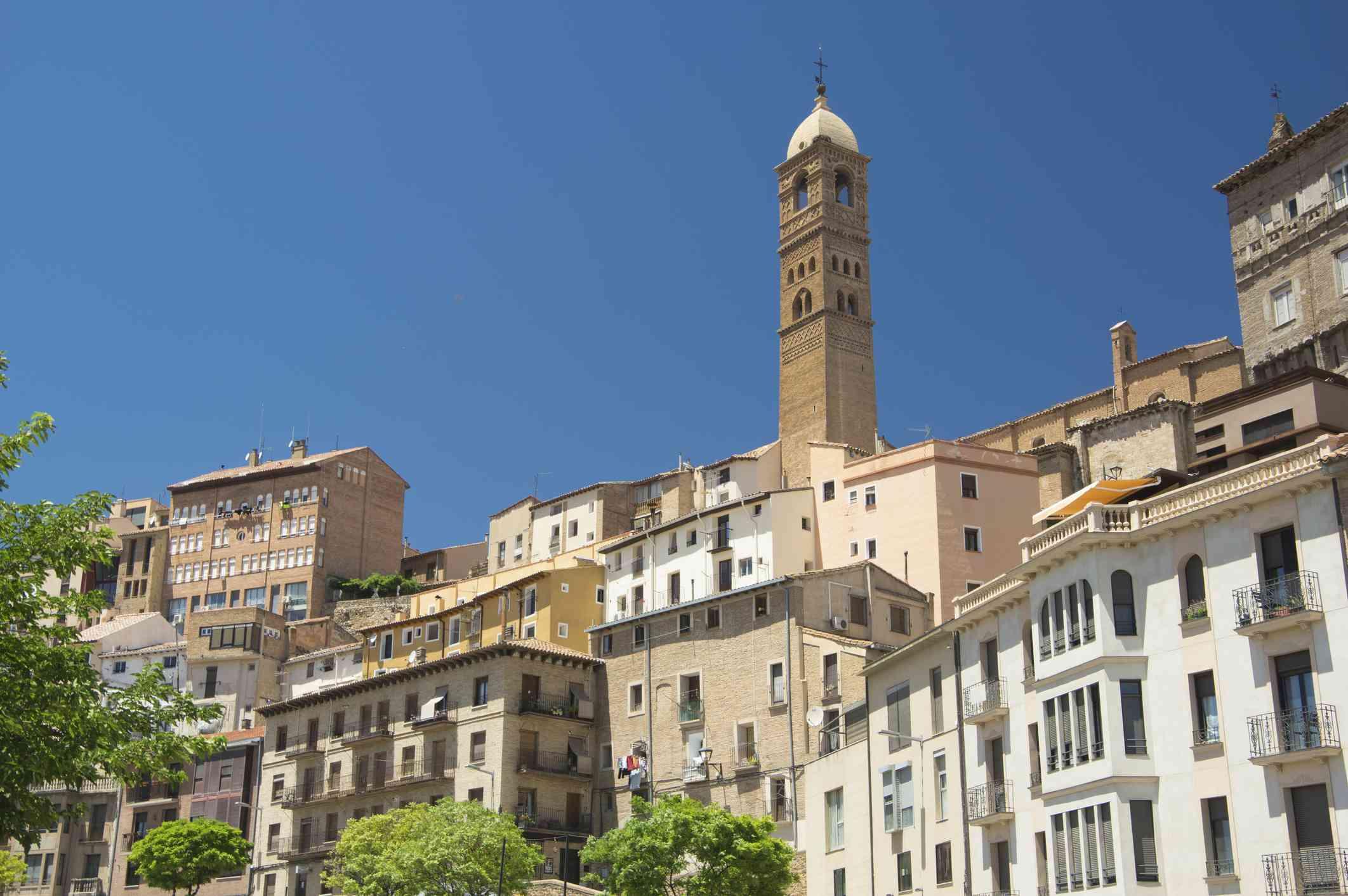 Tarazona and the tower of church of Santa Maria Magdalena - Tarazona - Zaragoza Province - Aragón - Spain