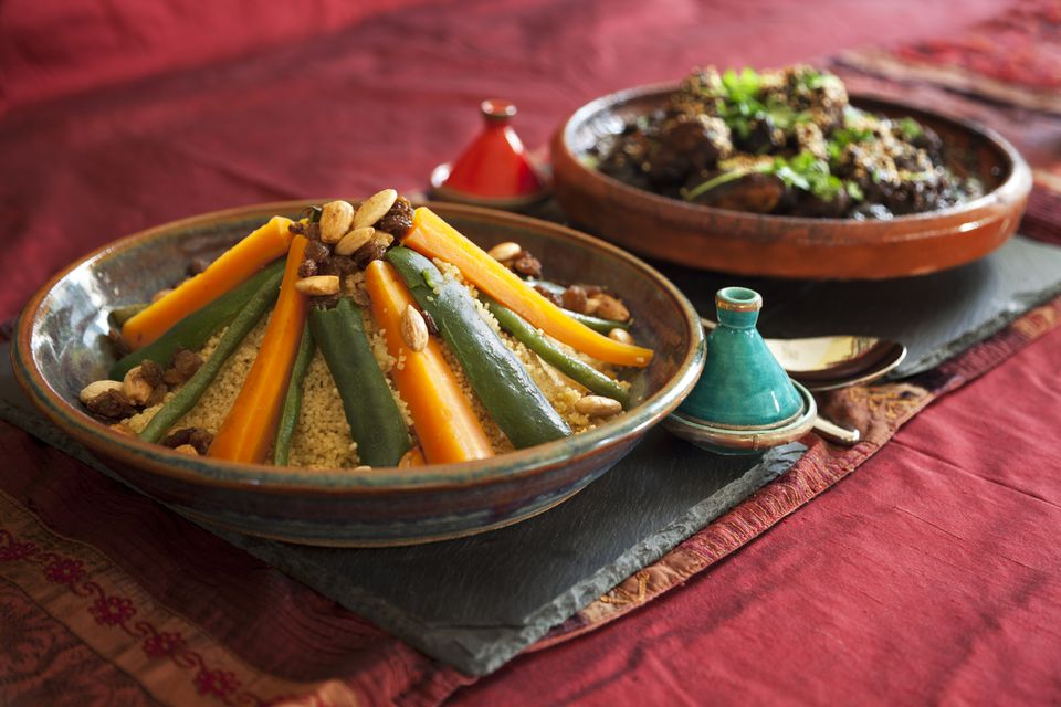 Close-up of Moroccan tagine and couscous