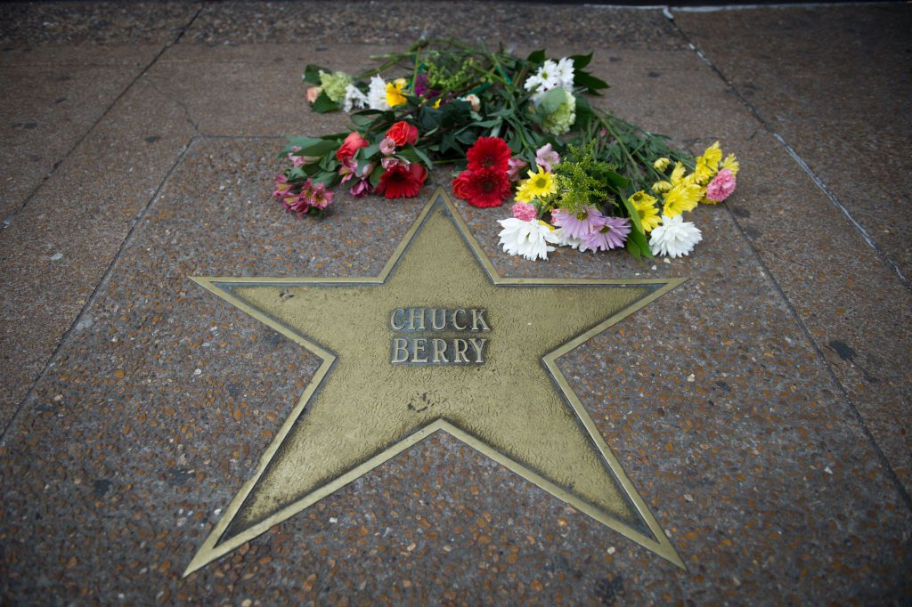 The star for singer and musician Chuck Berry is seen on the Delmar Loop Walk of Fame