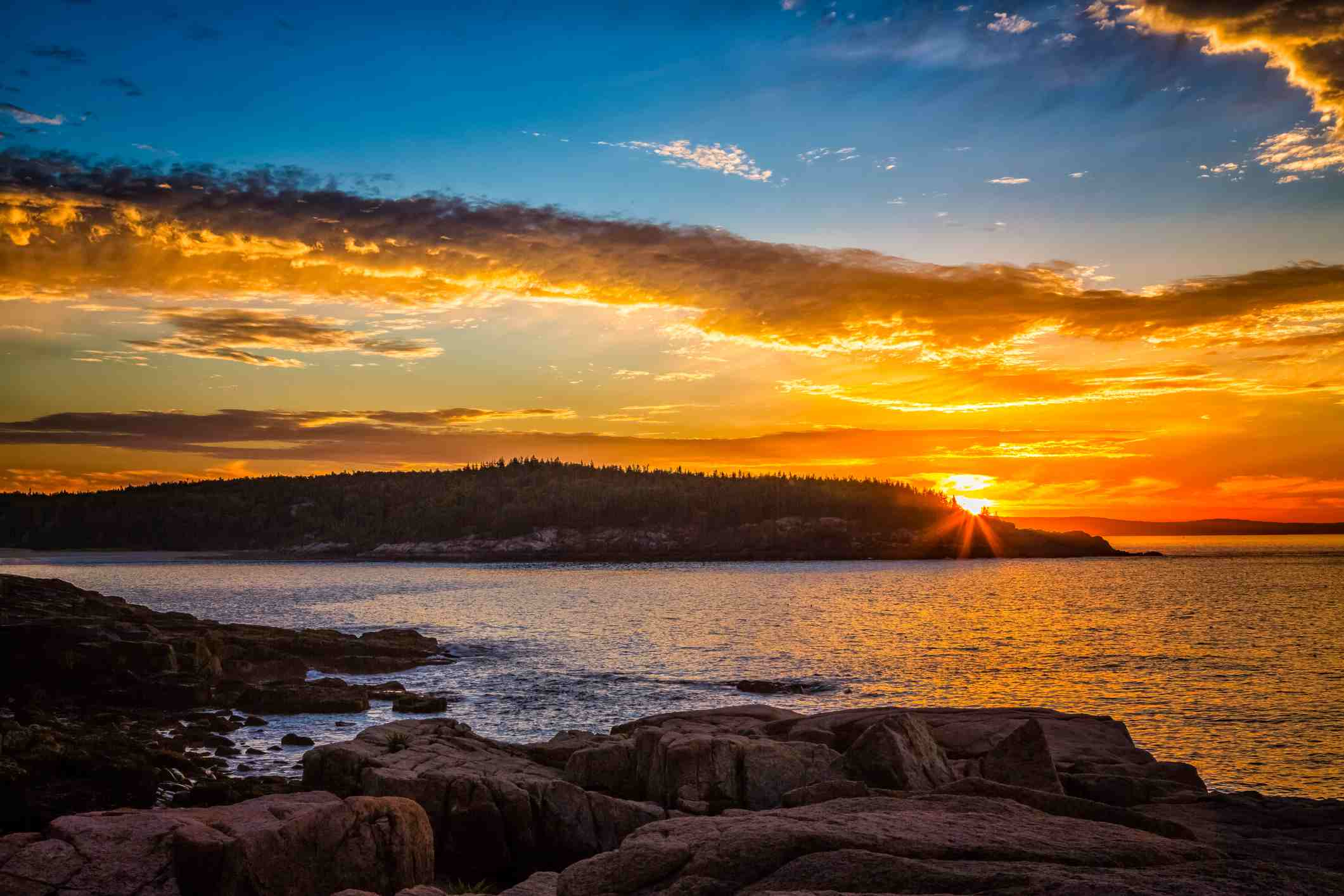 Golden Sunrise Acadia National Park Bar Harbor Maine