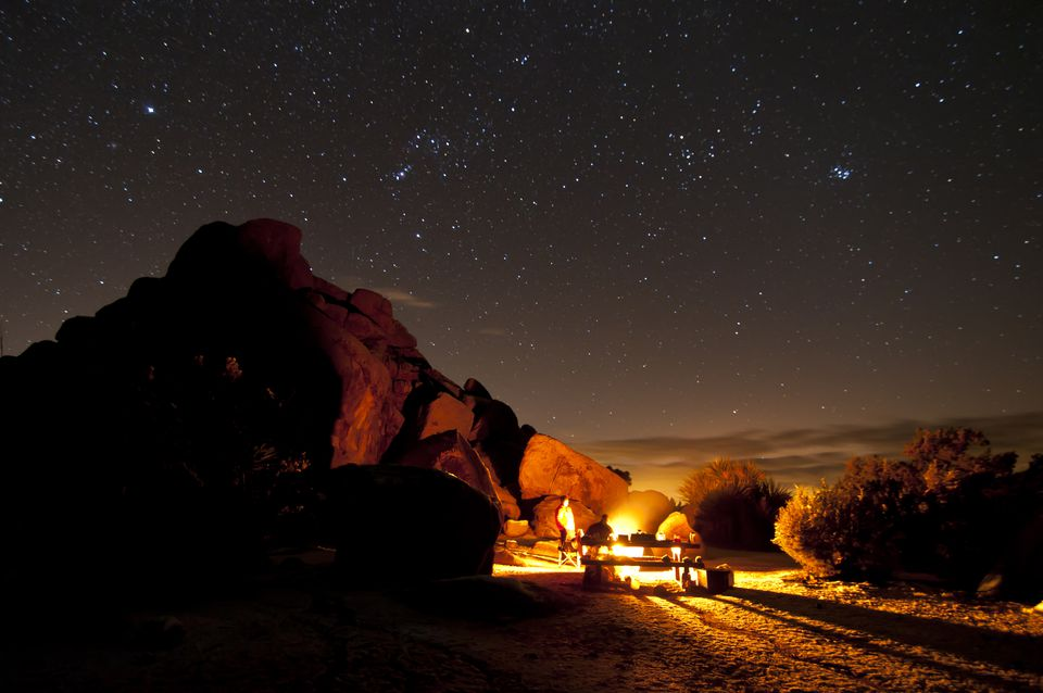 Campers at night in Joshua Tree National Park