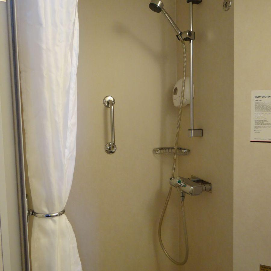 Midnatsol Ocean View Cabin Shower - Hurtigruten Coastal Liner Accommodations