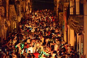 High Angle View Of Crowd On Street At Caltagirone During Night