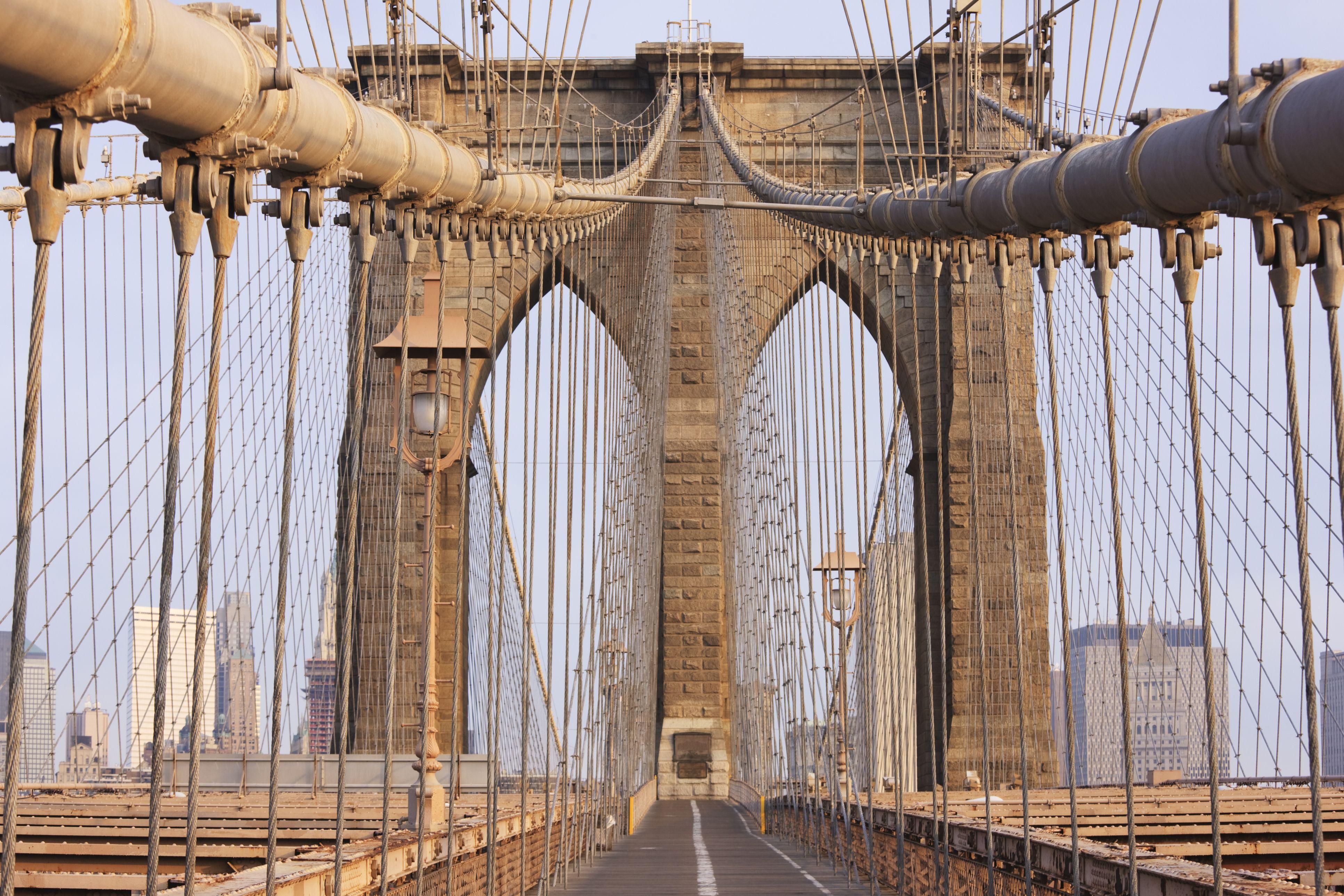 Pedestrian Level of the Brooklyn Bridge, New York City, pedestrian point of view