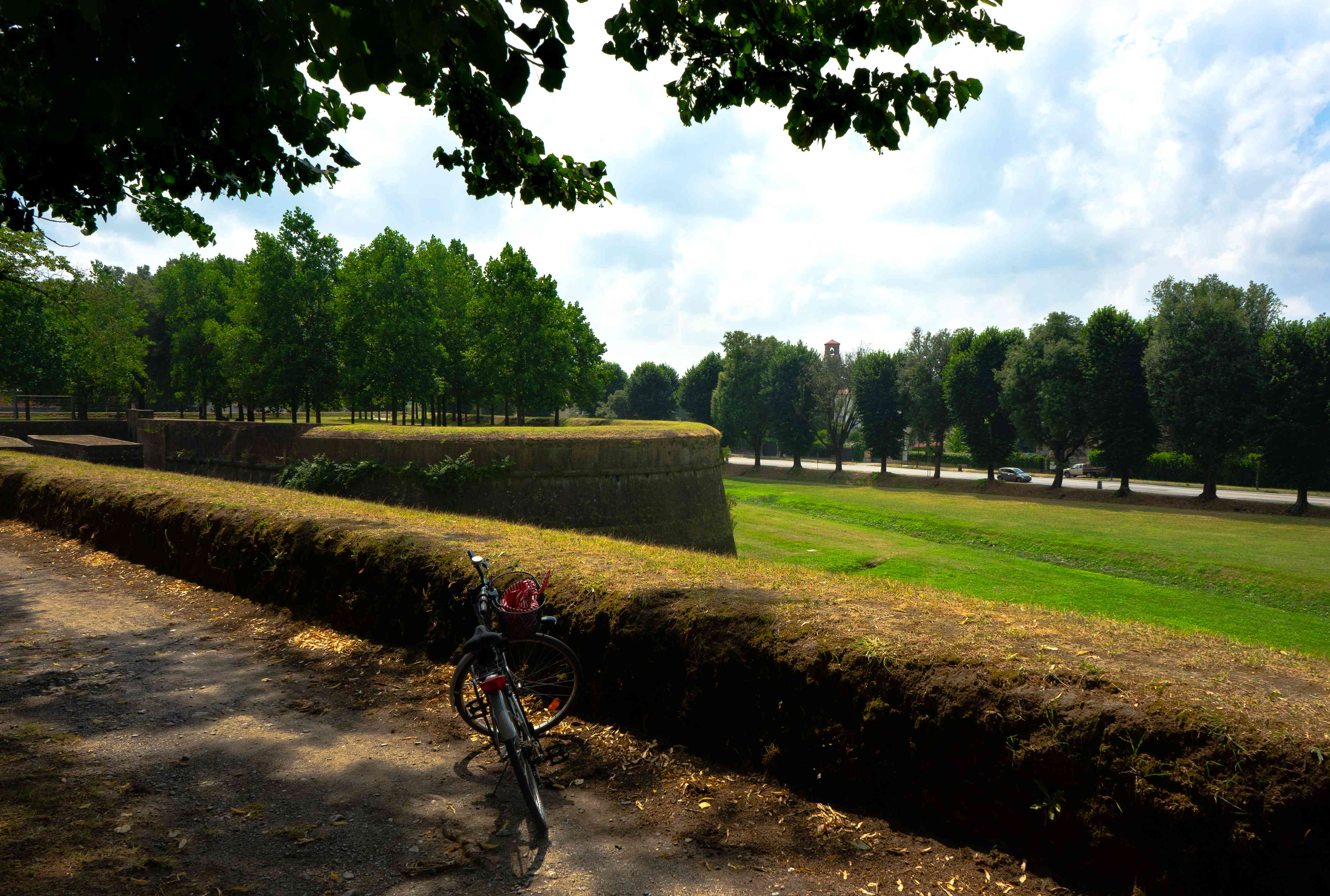 A bike on top of Lucca's walls overlooking a green park