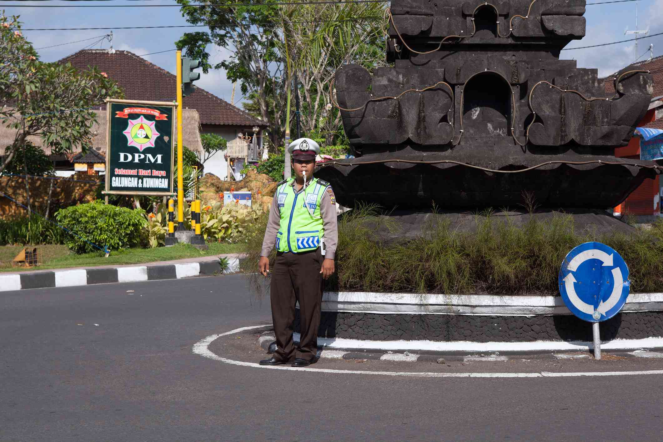 Balinese traffic officer at an intersection