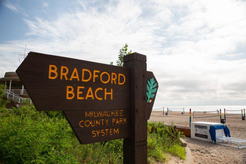 Sign for Bradford Beach