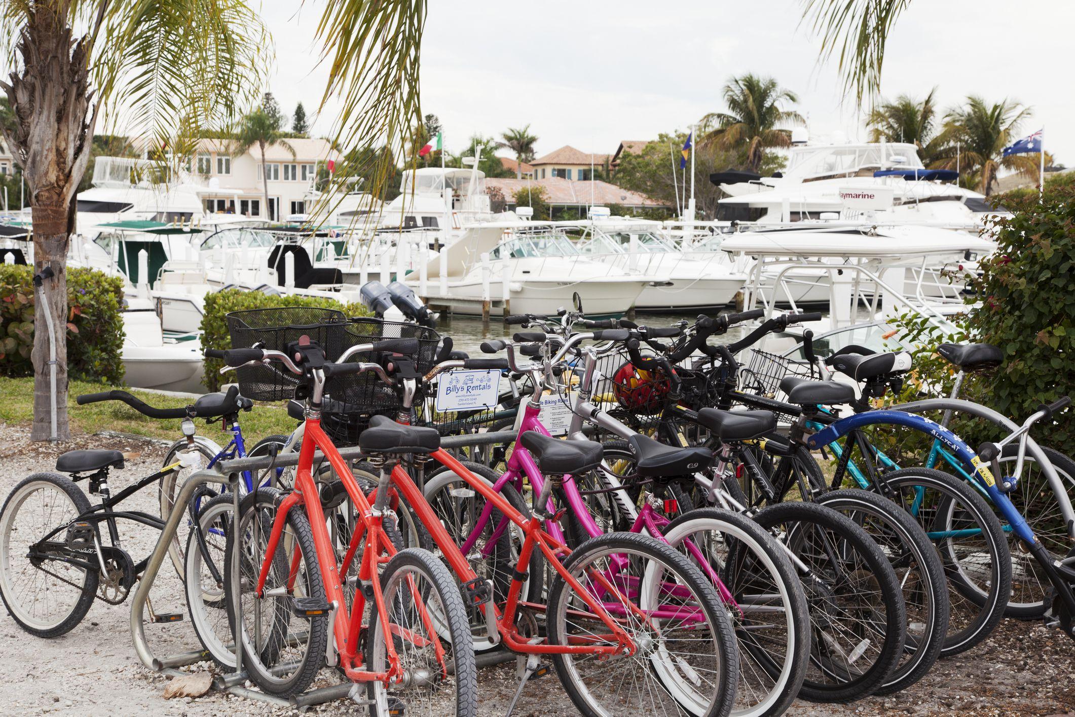 Rental bicycles and yachts sales on a Sanibel Yacht Marina