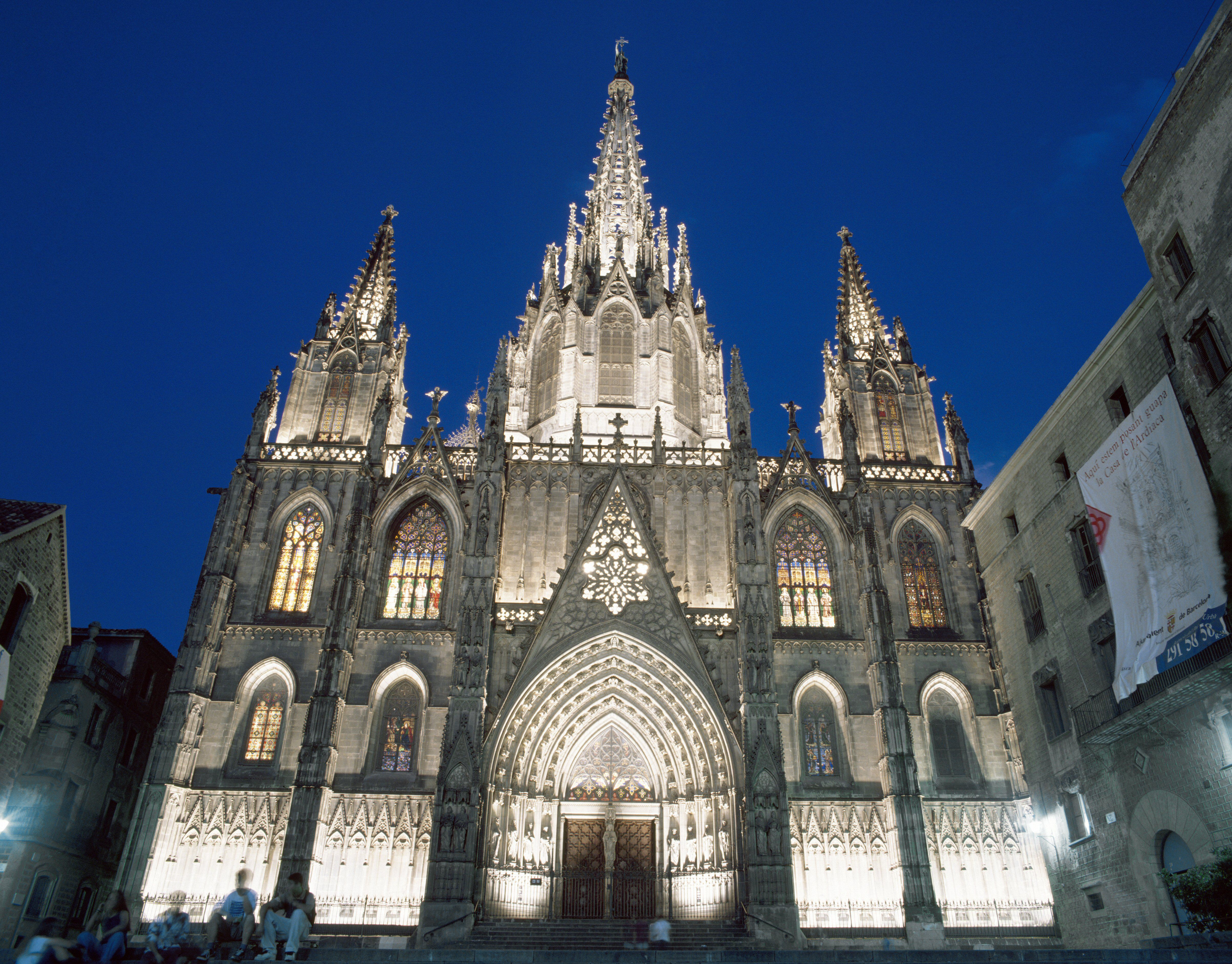 Lighted Spires and Gothic Details of Barcelona Cathedral, night in Barcelona, Spain