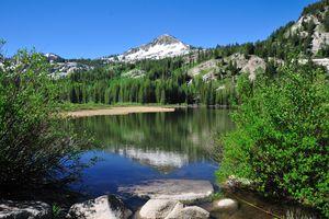 Mountain peak reflected in Silver Lake, Utah