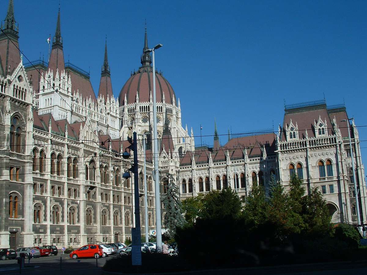 Budapest Parliament Building in Pest, Hungary on the Danube River