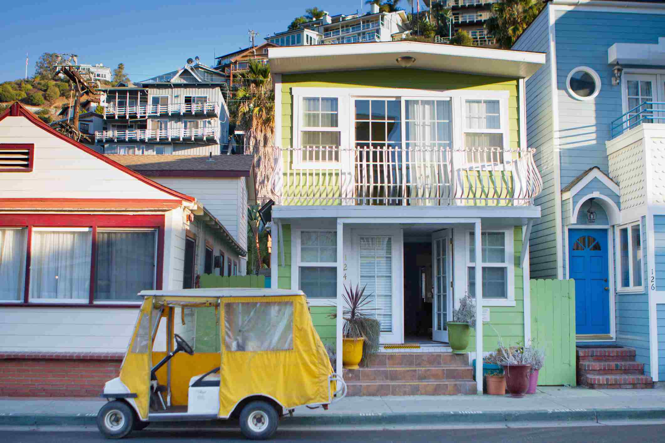 Golf carts and classic and colorful beach cottages are part of the charm of Avalon, Catalina Island.