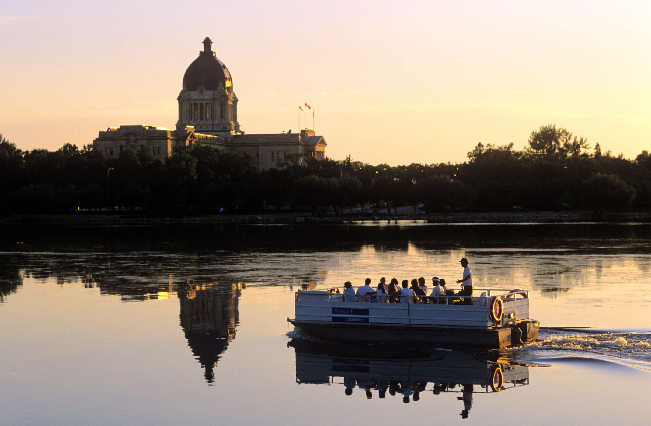Boat Tour on Wascana Lake, Regina, Saskatchewan, Canada.