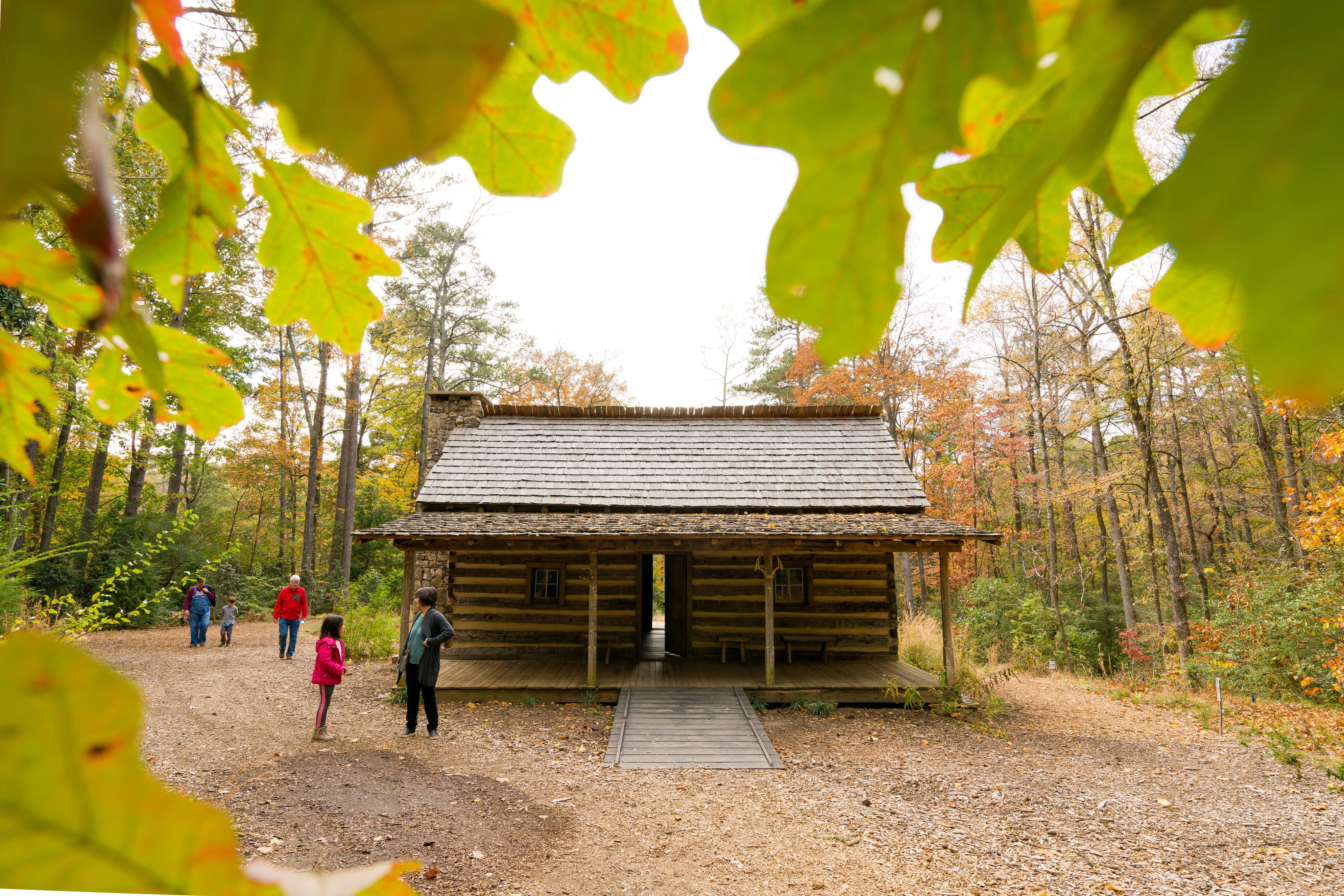 Log cabin on the Atlanta History Center grounds during autumn