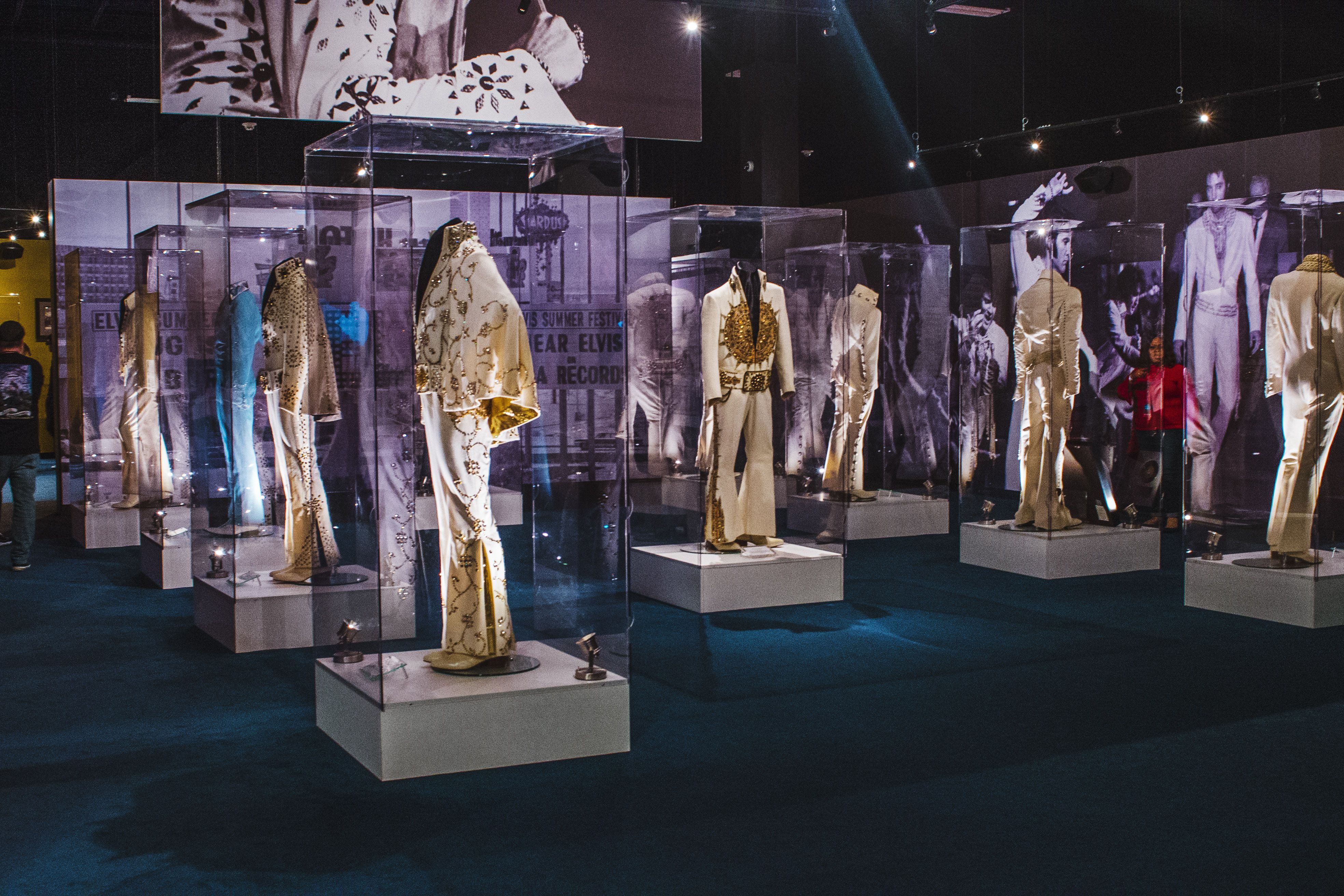 Collection of Elvis' stage outfits at Graceland museum