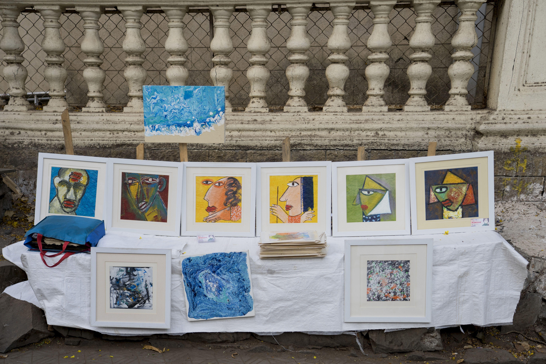 Sidewalk art in Kala Ghoda