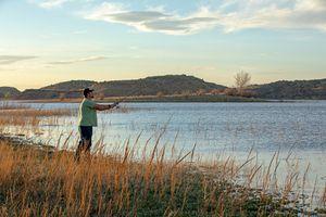 man Fishing in Lyman Lake