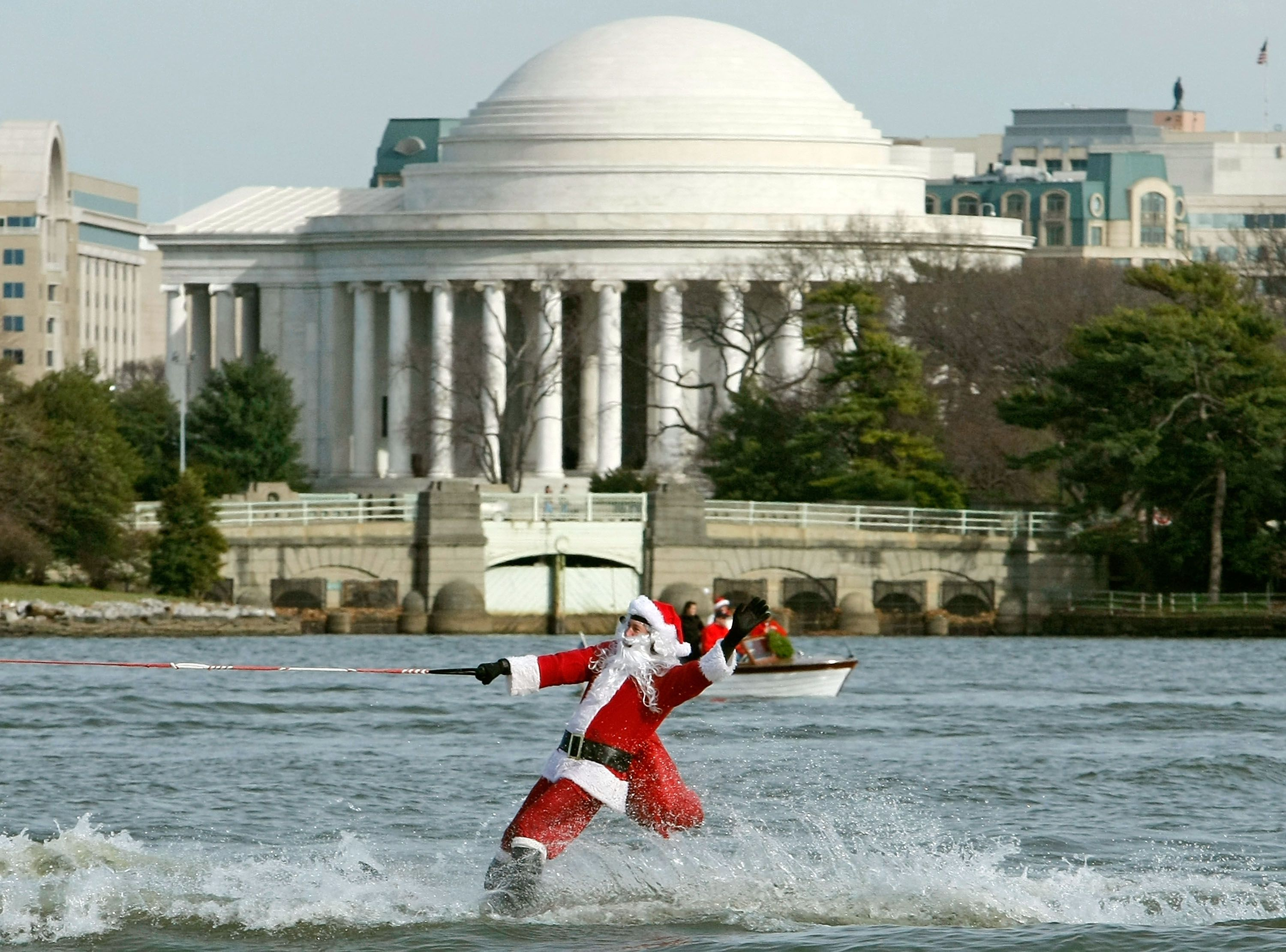 Santa Claus Waterskis On The Potomac River