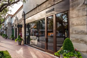 Exterior of a Celine store at Highland Park Village in Dallas with planters in front of it