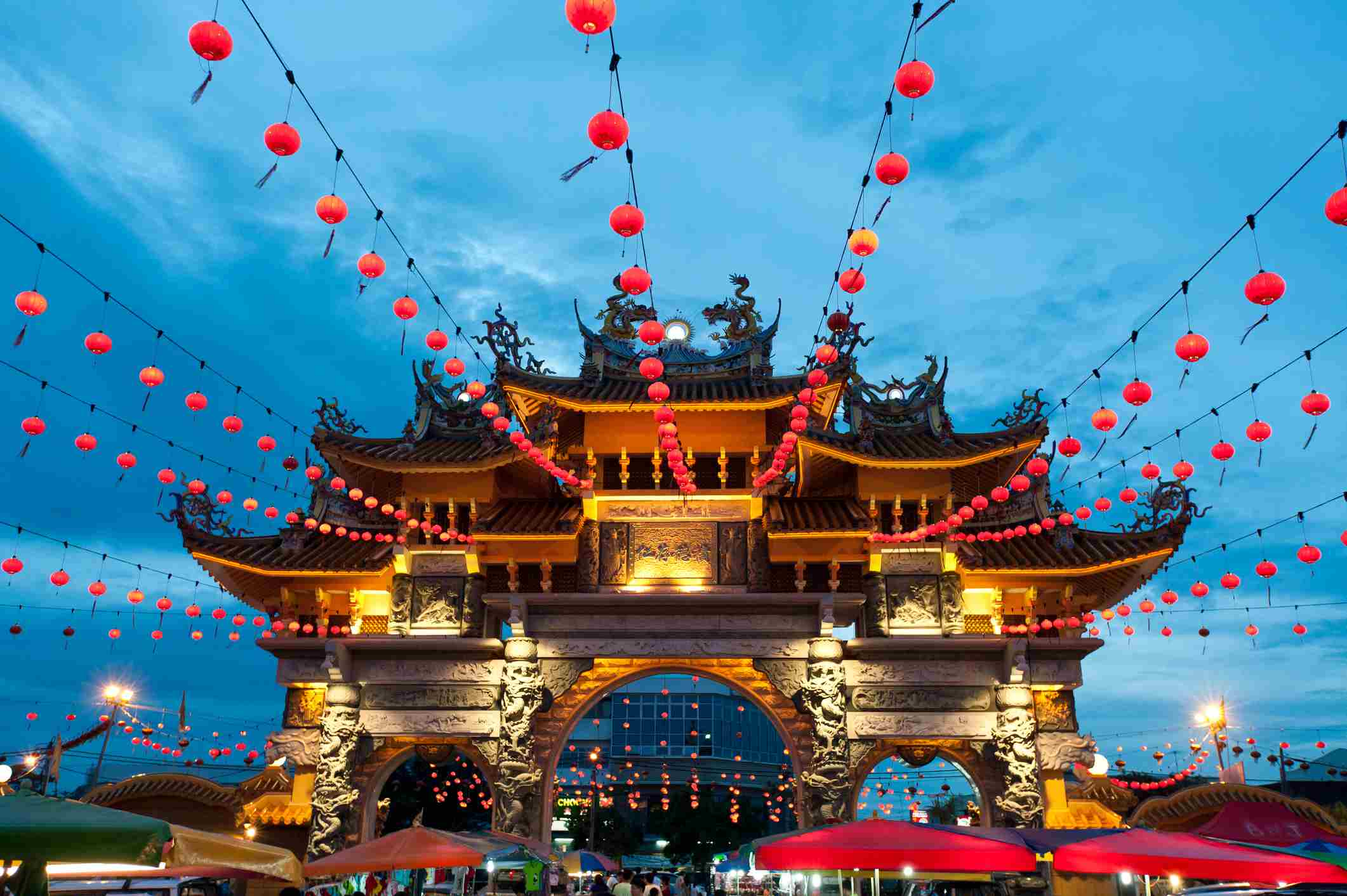 Magnificent lighted Gate at Ninth Emperor God's Temple during Chinese New Year festival, in Prai, Penang, Malaysia.
