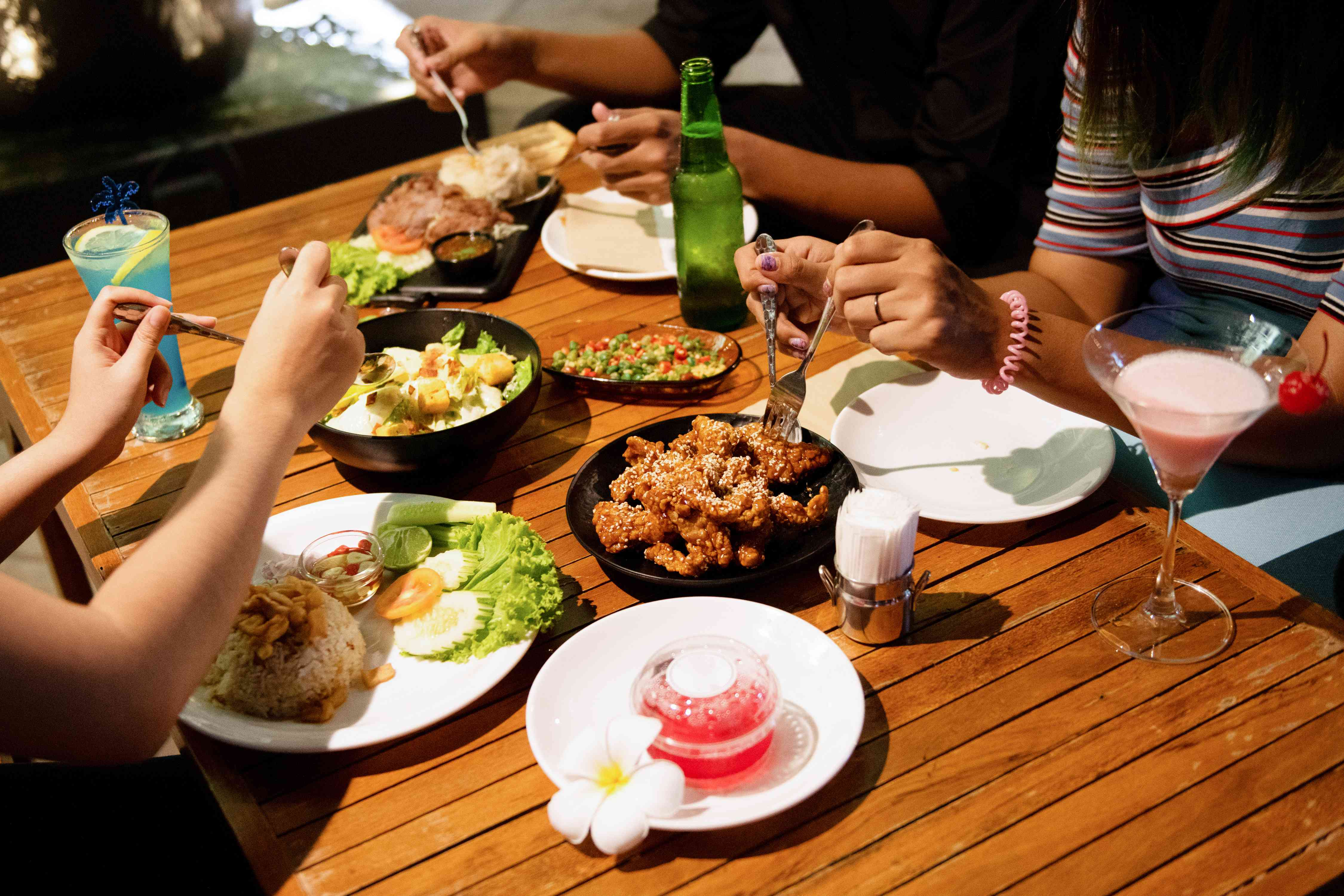 People eating Thai food in Bangkok