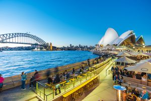 People dining at outdoor restaurants in Circular Quay in Sydney