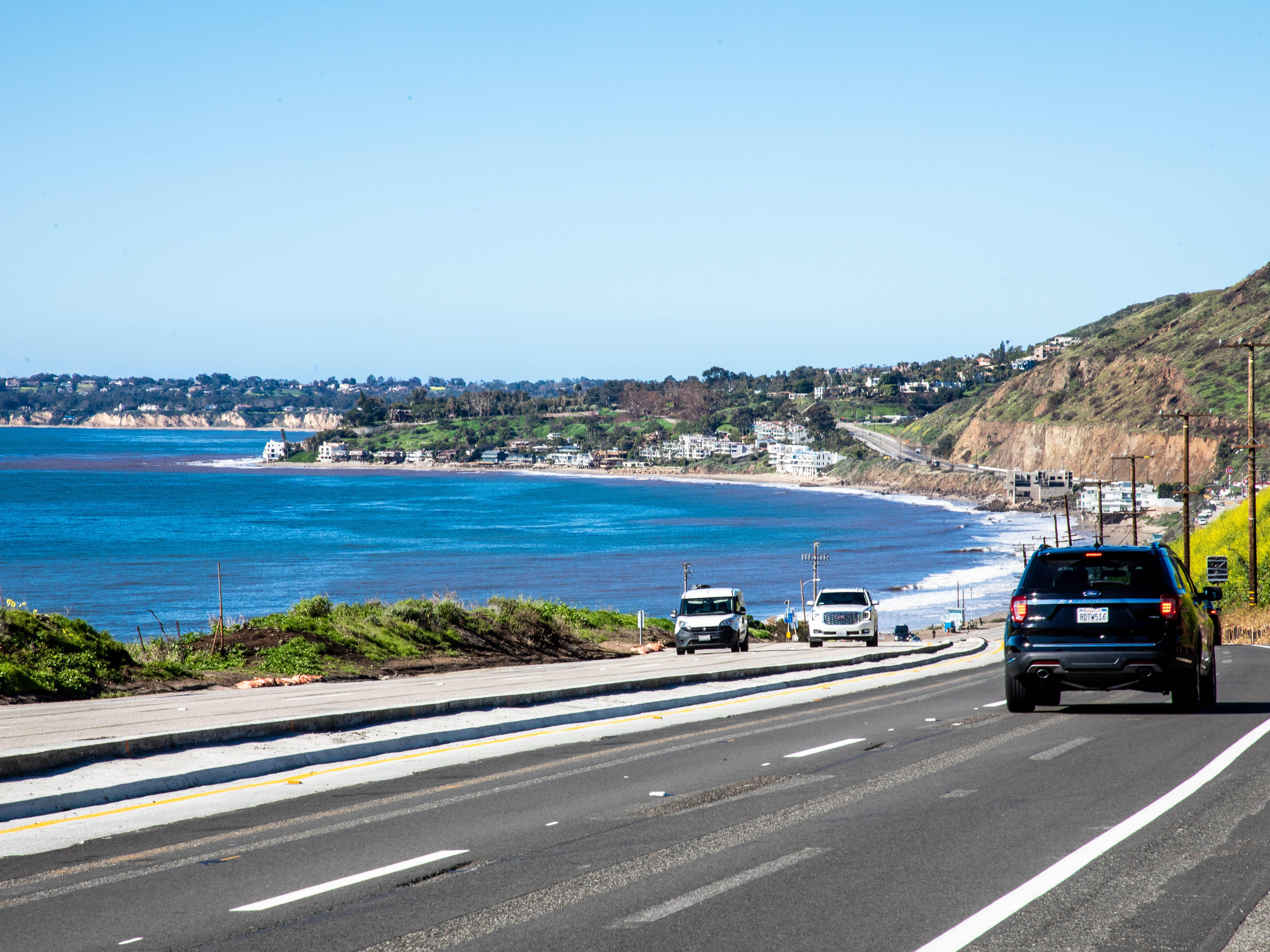 Driving the Pacific Coast Highway in Malibu, California