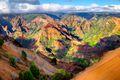 Panoramic landscape view of Waimea Canyon in Kauai, Maui