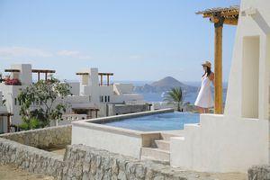 Woman on terrace, Cabo San Lucas, Mexico