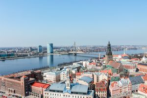 Aerial view of Riga and the river