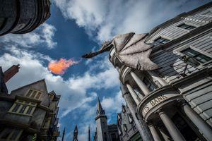 Diagon Alley at Universal Orlando fire-breathing dragon