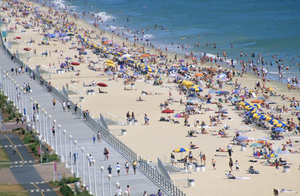 Aerial View Of Crowded Virginia Beach