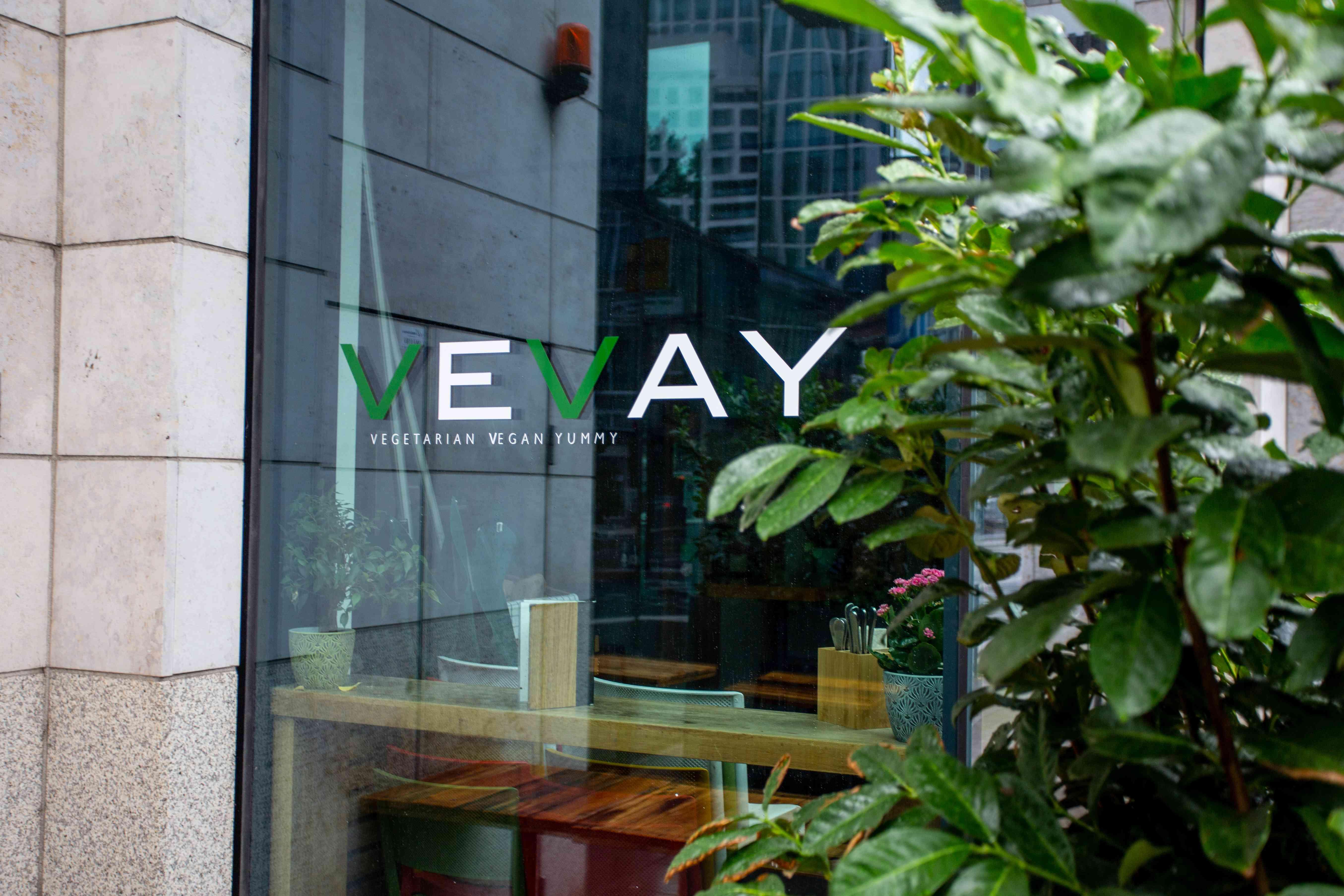 Window and logo of Vevay