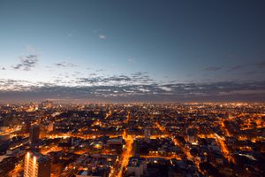 View of Montevideo City at dusk