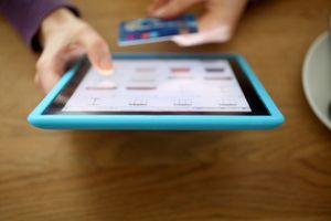 Shopping online using tablet