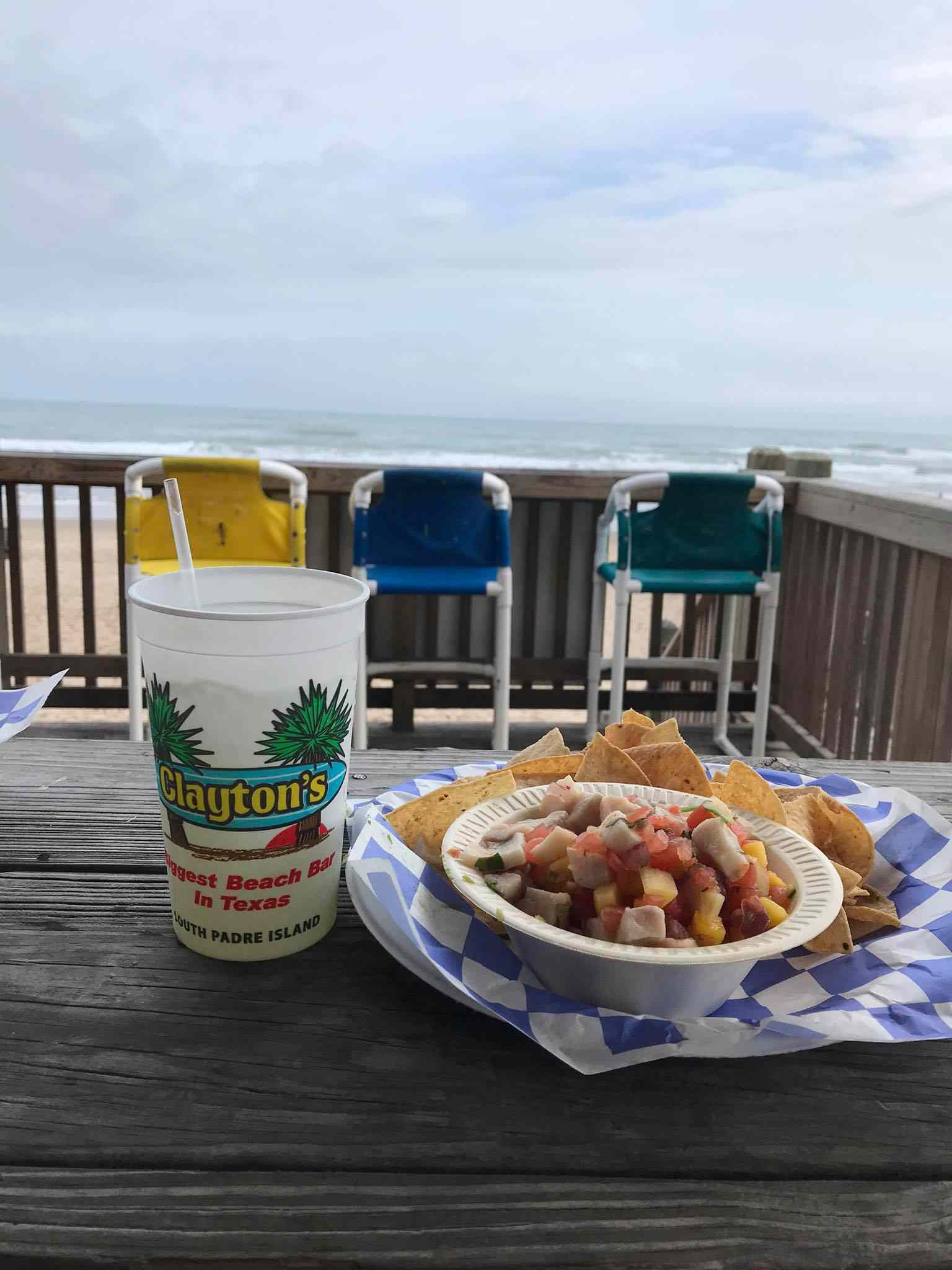 Ceviche and a marg on the beach at Clayton's