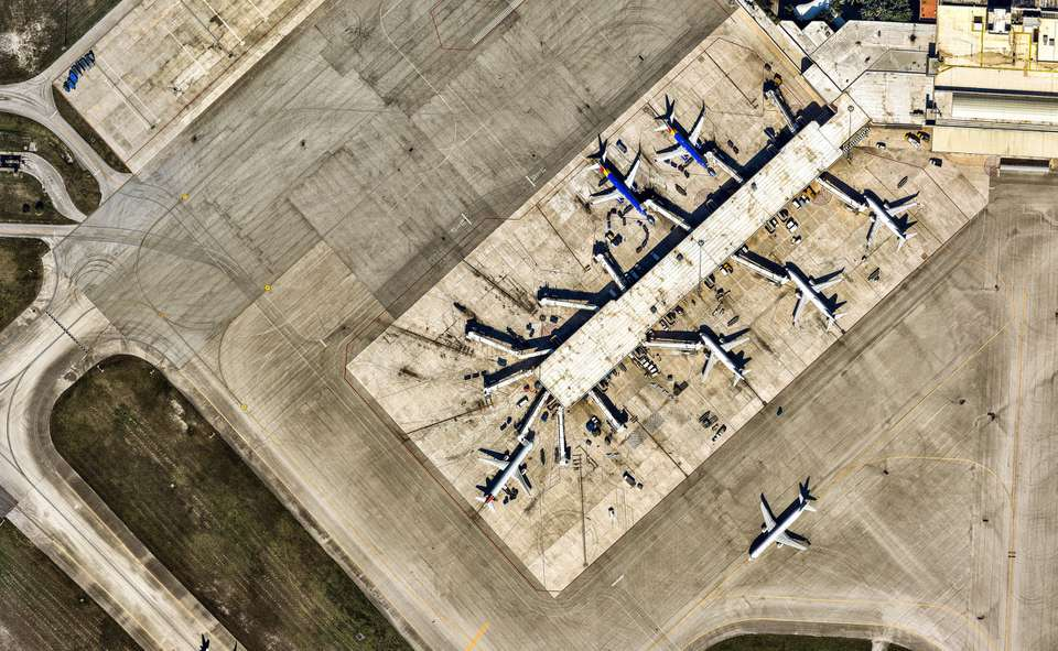 Aerial view of Palm Beach International Airport. Florida. USA
