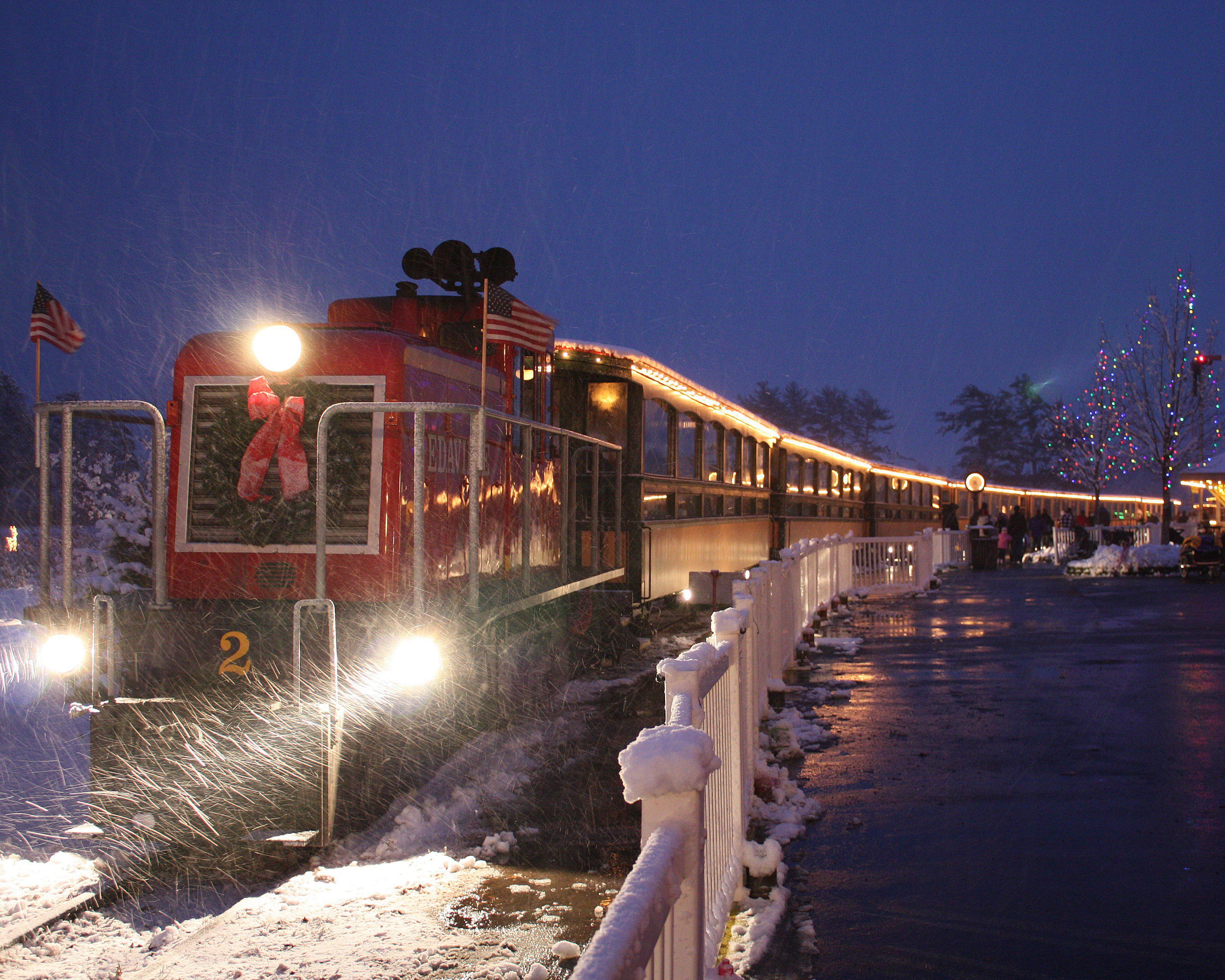 Edaville U.S.A. train at Christmas