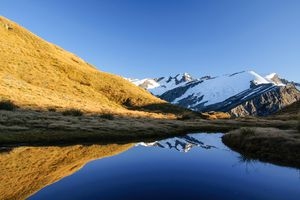 lake with reflection of blue sky, snowy mountains and grassy hill
