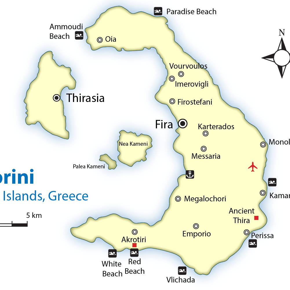 Santorini Map And Guide Cyclades Islands Greece