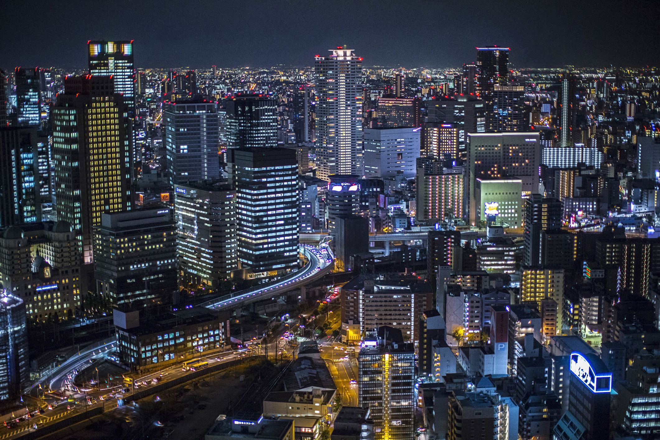 High angle view of Osaka city at night. View from Umeda Sky Building