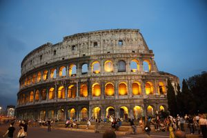 The Roman Coliseum during a warm spring sunset